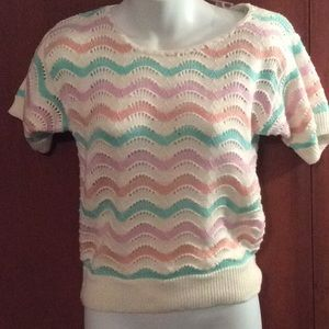 Fab 1980s pink, orange, green and white sweater
